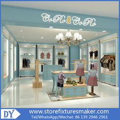Cina Custom nice fashion  design wooden lacquer Childrens Clothing Stores display showcase furniture  with good price pabrik