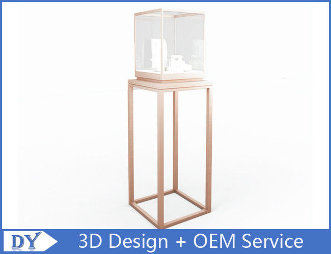 OEM manufacturing high end stainless steel museum pedestal display case with led spot lights pemasok